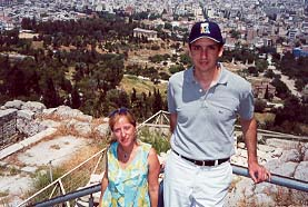 Prince Eugene III and Princess Zoe Lascaris Comnenus at the Acropolis overlooking the Thesseion.