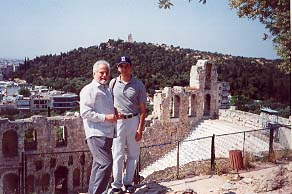 Prince Eugene III Lascaris Comnenus and Dr. Mark A. C. Karras at the Acropolis in sight of the Odeon of Herodes Atticus.