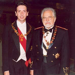 Prince Eugene III Lascaris Comnenus and House Delegate Dr. Mark A. C. Karras in Athens, Greece on the occasion of the 550th Year of the Fall of Constantinople.