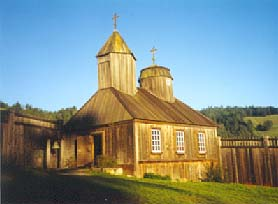 The Fort Ross Chapel at the historic park in Jenner, California.