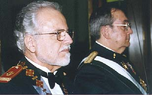 Prof. Don Gonzalo de Porras y R. de Leon , Col. Royal Artillery, Spanish Army and Dr. Mark A. C. Karas during the Eugenian Gala in 2001 at the Grande Bretagne Hotel in Athens, Greece.