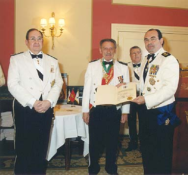 Prince Juan Arcadio Lascaris Comnenus with members of the governing body of the Order of Saint Eugene of Trebizond, Madrid, Spain.