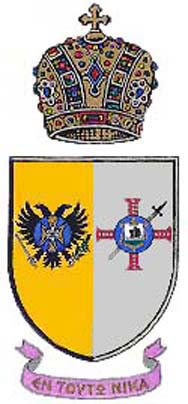 Coat of Arms of the Grand Duke of Hesperia and Count of Ayla: Both Byzantine, vested in the person of Abp. Mark Athanasios C. Karras, M.A.(Econ.), Ph.D., and in unison symbolize his ordained Apostolate.