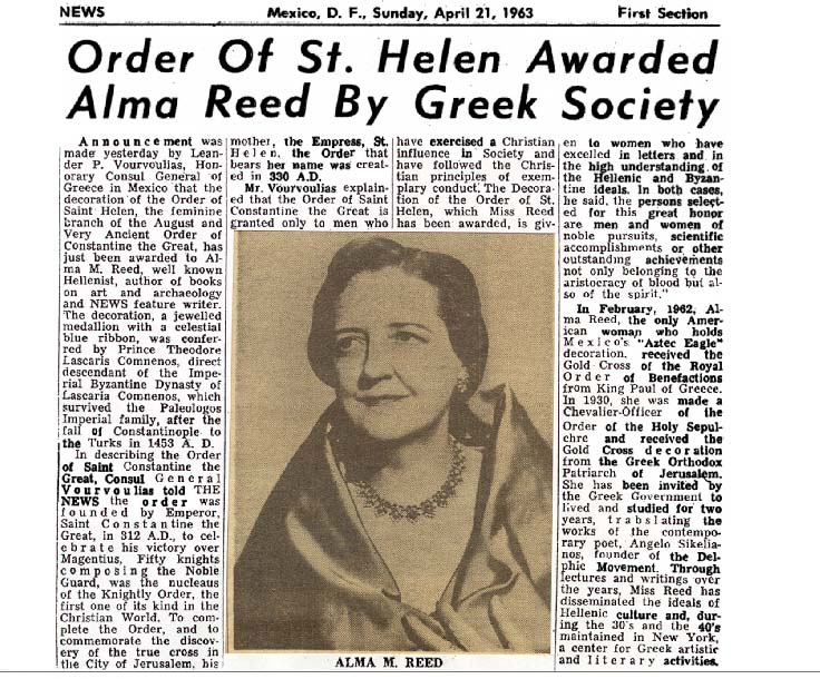Alma Reed receives the Order of Saint Helen from Greek Society, Mexico, D.F., Mexico.