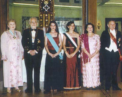 Royal reception line at the Eugenian Gala in 2001 at the Grande Bretagne Hotel, Athens, Greece.