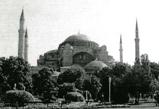 Constantinople: 'HAGIA SOPHIA - Church of Holy Wisdom.' Encumbered with non-Christian symbols.