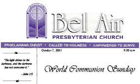 Logo of the Bel Air Presbyterian Church of Los Angeles, California, sponsor of the 'World Community Sunday' in October 2001.